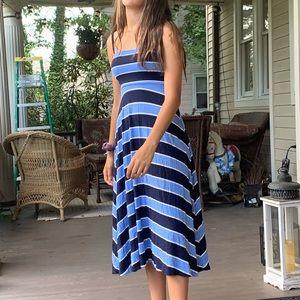 Blue and black midi dress